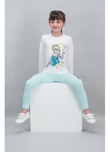 Frozen Karlar Ülkesi - Frozen Lisanslı Karmelanj Kız Çocuk Tayt Tunik Takım Krem